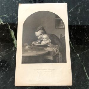 "Antique Engraving GRANDMOTHER'S DARLING 10"" x 6"""
